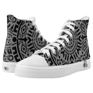 Abstract black geometric circle grey tribal printed shoes