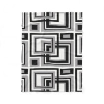 Abstract Black Gray Grey Geometric Square Pattern Fleece Blanket