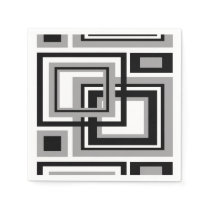 Abstract Black Gray Grey Geometric Square Pattern Napkin