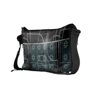 Abstract Black Green and Grey Flower Line Design Courier Bag