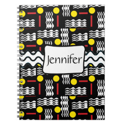 Abstract Black Red Yellow Squiggles Notebook