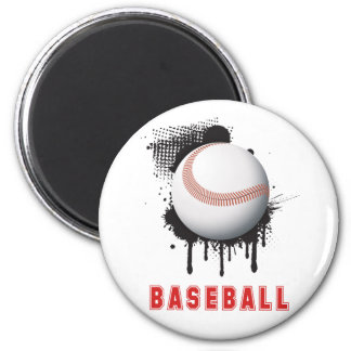 Abstract Black Splotch with Baseball and TEXT 2 Inch Round Magnet