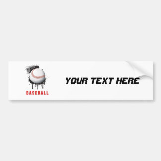 Abstract Black Splotch with Baseball and TEXT Car Bumper Sticker