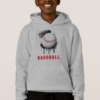 Abstract Black Splotch with Baseball and TEXT Hoodie