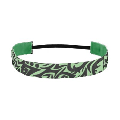 Abstract Black Tribal Design on Green Athletic Headband
