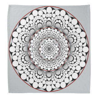 Abstract Black, White and Gray Medallion Design Bandana