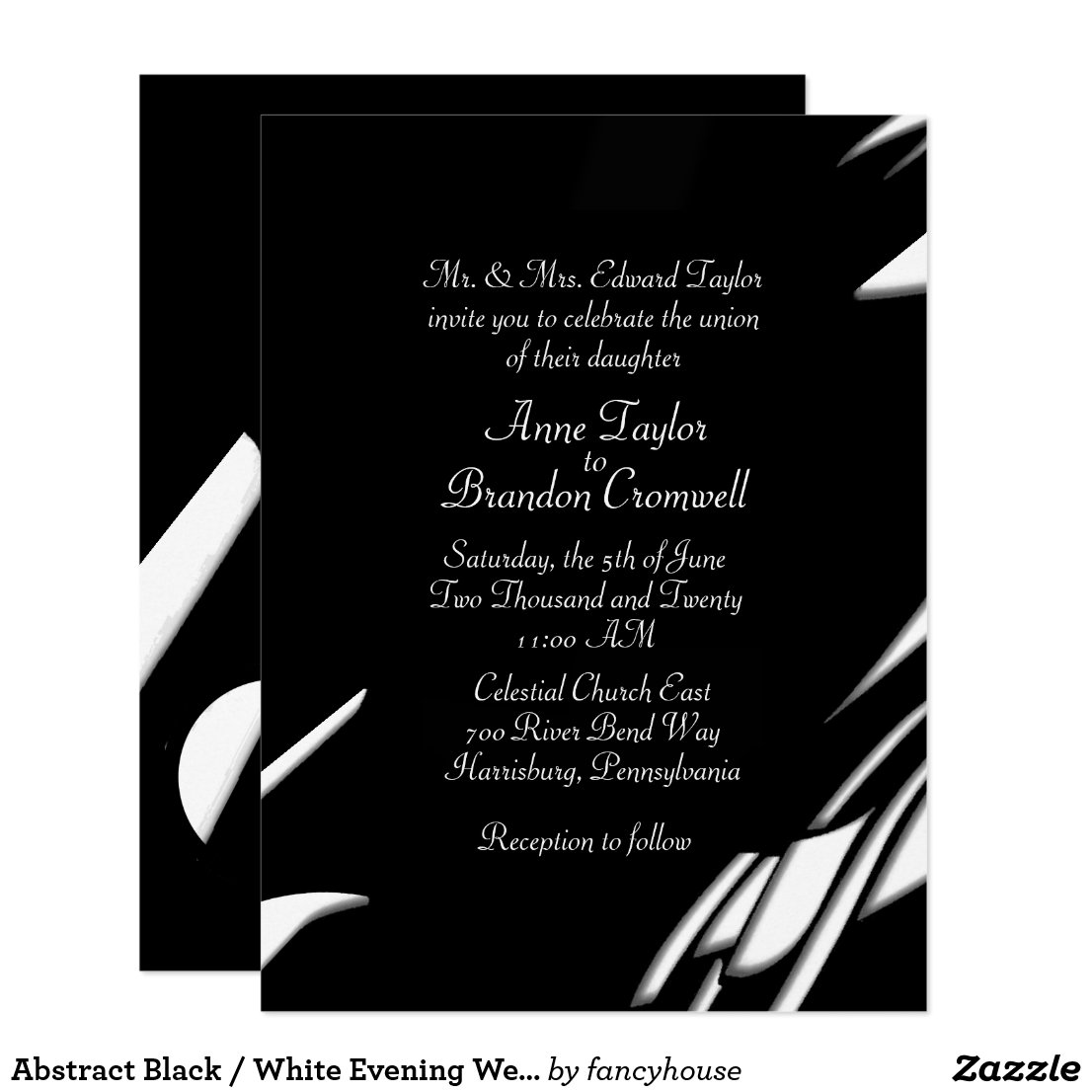 Abstract Black / White Evening Wedding Invitation