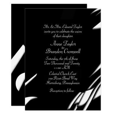 Abstract Black / White Evening Wedding Invitation