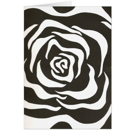 Abstract black white flower card