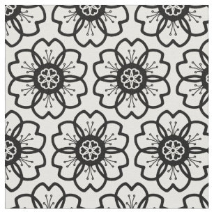 Black and white flower fabric zazzle abstract black white flower doodle heart pattern fabric mightylinksfo