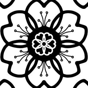black flower pattern decorative ceramic tiles zazzle
