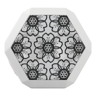 Abstract Black White Flower Doodle Heart Pattern. White Bluetooth Speaker