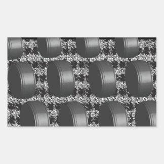 Abstract Black White Grey Rectangular Sticker