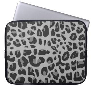 Abstract Black White Hipster Cheetah Animal Print Laptop Sleeve