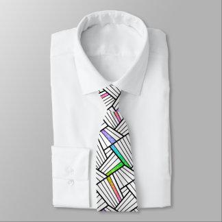 Abstract Black & White Lines Pattern Color Accents Tie