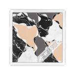 Abstract black white marble gray peach colorblock acrylic tray