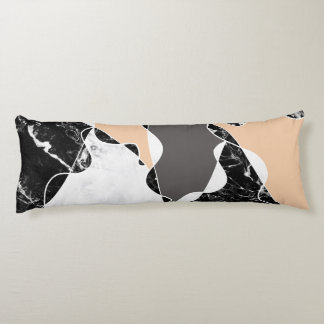 Abstract black white marble gray peach colorblock body pillow
