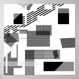 Abstract black white modern squares stripe pattern poster