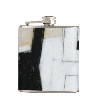 Abstract Black & White Painting Hip Flask