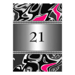 Abstract Black White Pink Silver Trim 21st Birthda Personalized Invites