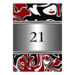 Abstract Black White Red Silver Trim 21st Birthday Personalized Announcements