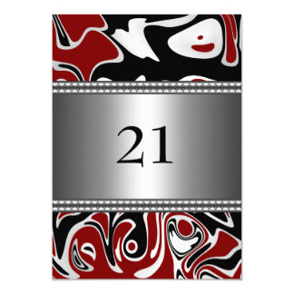 Abstract Black White Red Silver Trim 21st Birthday 5x7 Paper Invitation Card