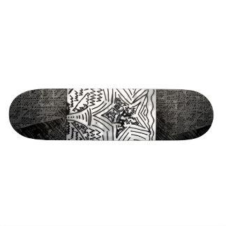 "Abstract Black/White ""Star"" W/Black/Grey Edges Skateboard Deck"