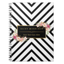 Abstract Black White Stripes and Floral Gold Frame Spiral Notebook