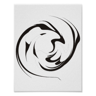 Abstract Black White Swirl Poster