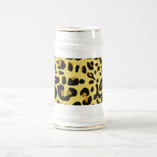 Abstract Black Yellow Hipster Cheetah Animal Print Beer Stein