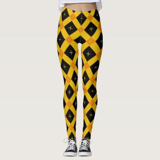 Abstract Black Yellow Orange Geometric Pattern Leggings