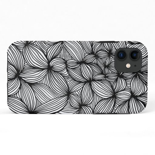 Abstract BlackWhite flowers iPhone 11 Case