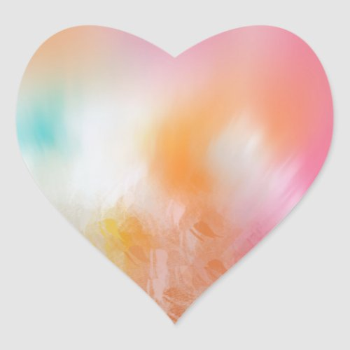 Abstract Blank Colorful Pink Red Yellow Blue Heart Sticker