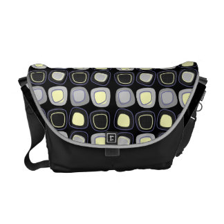 Abstract Block Cubes of Gray & Yellow on Black Messenger Bag