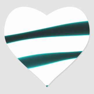 Abstract Blue and Black Curved Stripes Heart Sticker