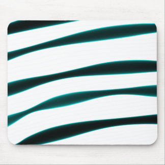 Abstract Blue and Black Curved Stripes Mouse Pad