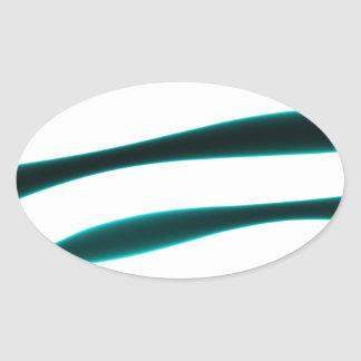 Abstract Blue and Black Curved Stripes Oval Sticker