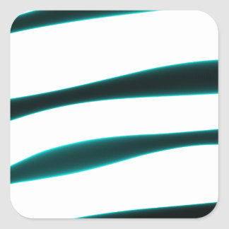 Abstract Blue and Black Curved Stripes Square Sticker
