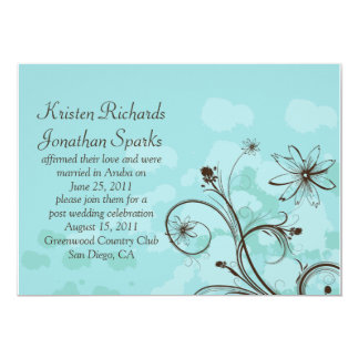 Abstract Blue and Brown Post Wedding Celebration Card