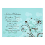 Abstract Blue and Brown Post Wedding Celebration Custom Announcements