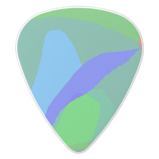 Abstract Blue and Green Composition White Delrin Guitar Pick