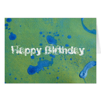 Abstract Blue and Green, Happy Birthday! Card