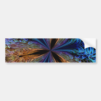 Abstract Blue and Orange Fractal Pattern Design Bumper Stickers