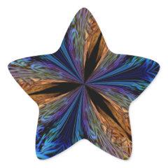 Abstract Blue and Orange Fractal Pattern Design Star Sticker