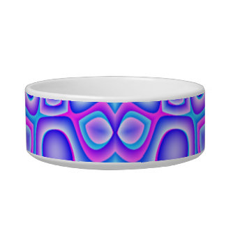 Abstract Blue and Pink Psychedelia Cat Water Bowls