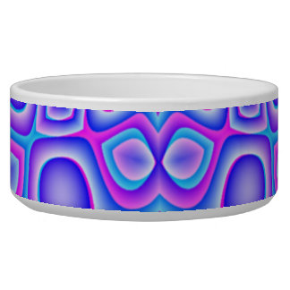 Abstract Blue and Pink Psychedelia Dog Food Bowls
