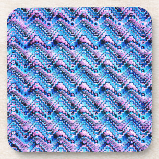 Abstract Blue And Purple Pattern Drink Coaster
