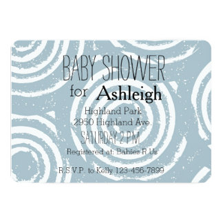Abstract Blue and White Circles baby shower Card