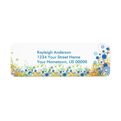 Abstract Blue and Yellow Flowers Return Address La Label
