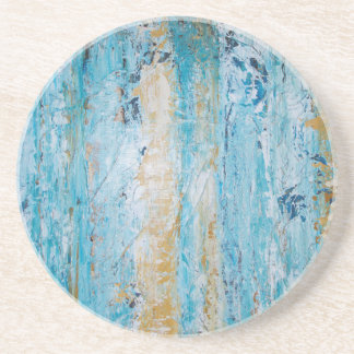 Abstract Blue and Yellow Sandstone Coaster